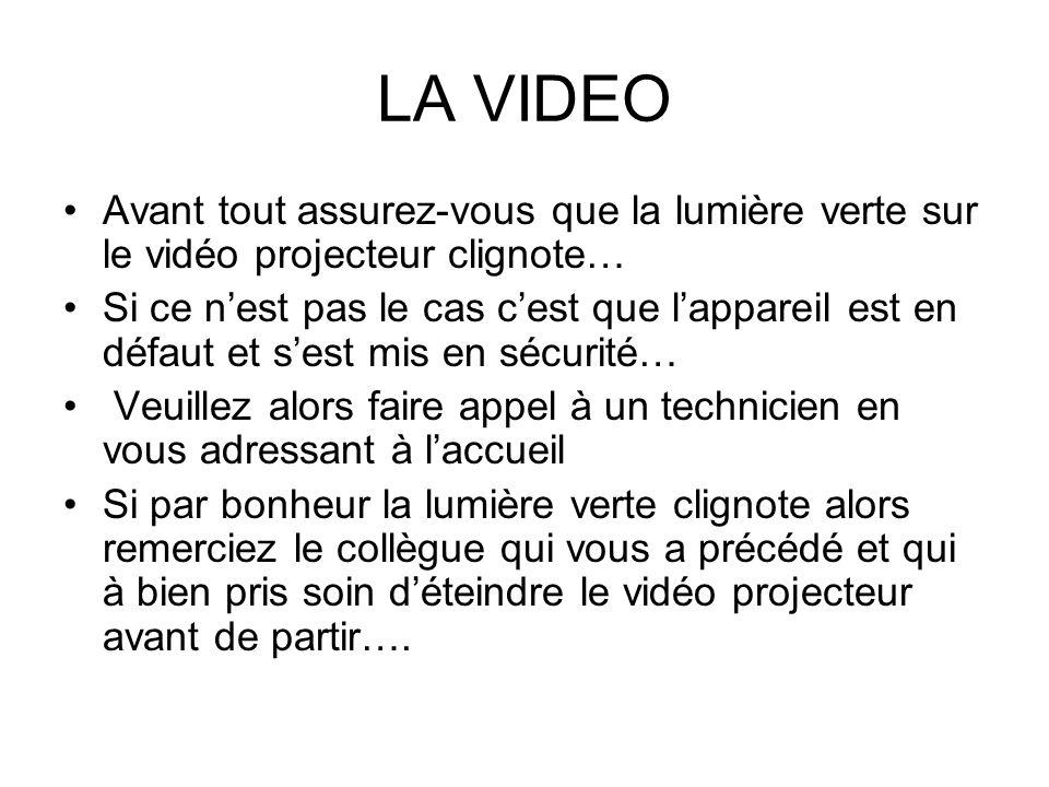 LA VIDEO Avant tout assurez-vous que la lumière verte sur le vidéo projecteur clignote… Si ce nest pas le cas cest que lappareil est en défaut et sest