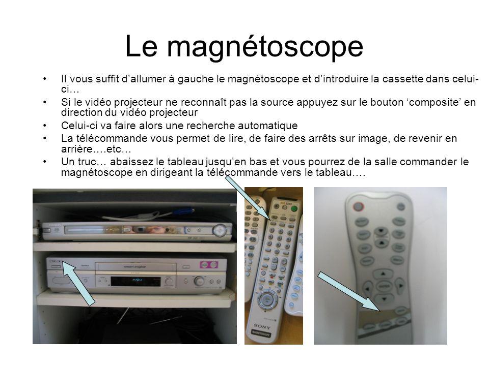 Le magnétoscope Il vous suffit dallumer à gauche le magnétoscope et dintroduire la cassette dans celui- ci… Si le vidéo projecteur ne reconnaît pas la source appuyez sur le bouton composite en direction du vidéo projecteur Celui-ci va faire alors une recherche automatique La télécommande vous permet de lire, de faire des arrêts sur image, de revenir en arrière….etc… Un truc… abaissez le tableau jusquen bas et vous pourrez de la salle commander le magnétoscope en dirigeant la télécommande vers le tableau….