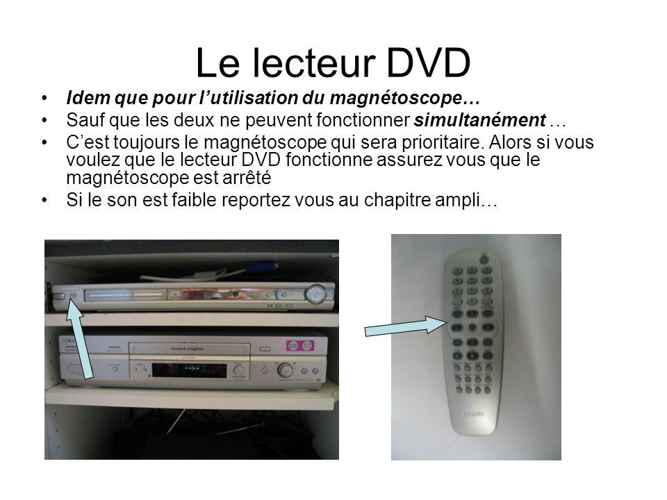 Le lecteur DVD Idem que pour lutilisation du magnétoscope… Sauf que les deux ne peuvent fonctionner simultanément … Cest toujours le magnétoscope qui