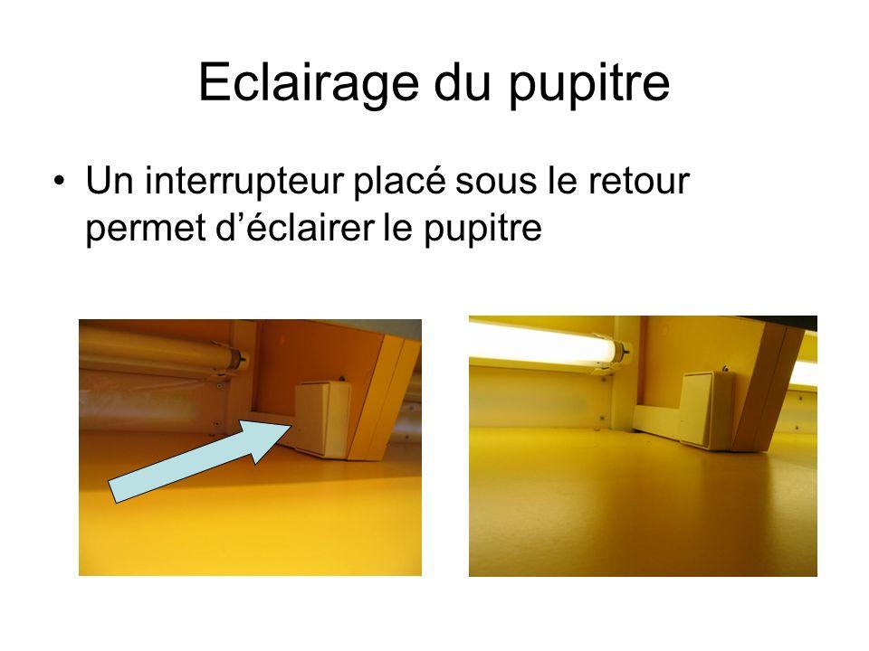 Eclairage du pupitre Un interrupteur placé sous le retour permet déclairer le pupitre