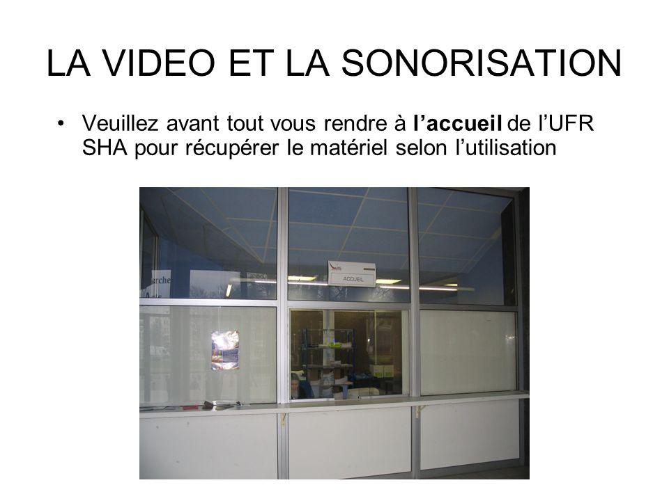 LA VIDEO ET LA SONORISATION Veuillez avant tout vous rendre à laccueil de lUFR SHA pour récupérer le matériel selon lutilisation