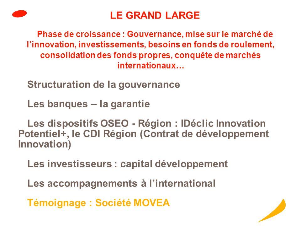 LE DEPART Phase de concrétisation : développement de linnovation, préparation à sa mise sur le marché, consolidation du réseau commercial, prise des p