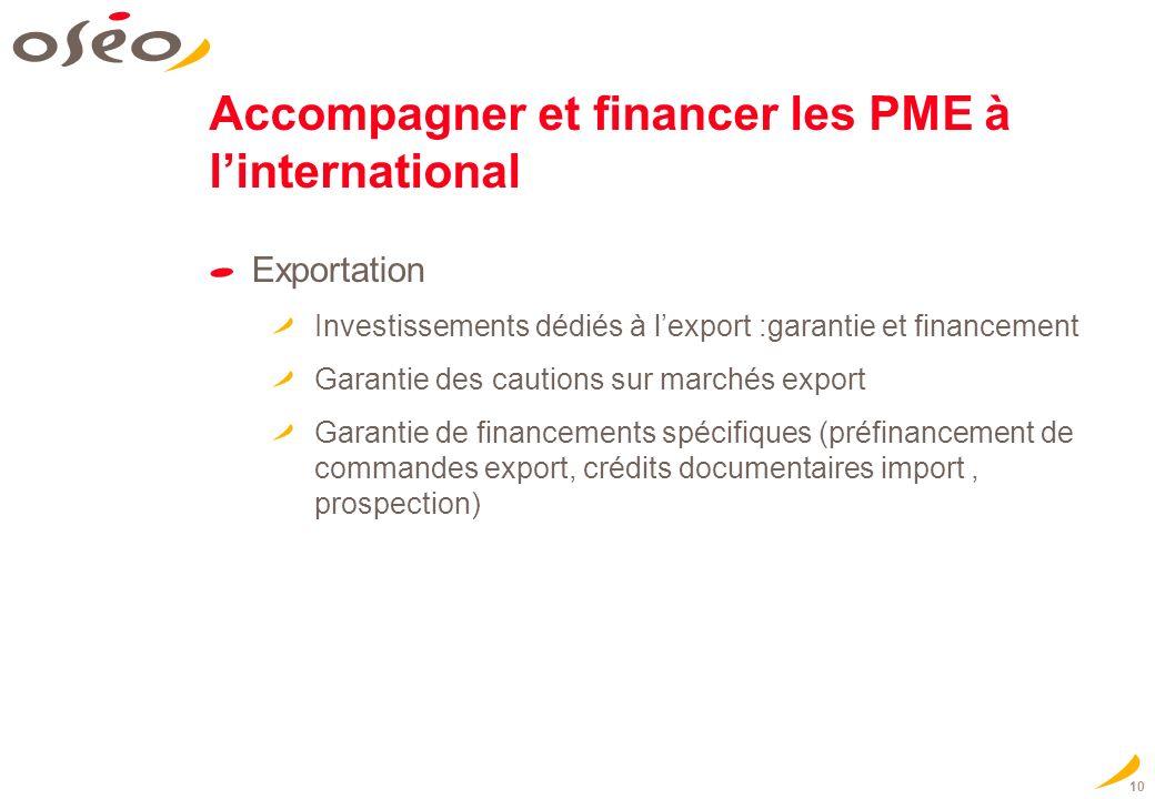 10 Accompagner et financer les PME à linternational Exportation Investissements dédiés à lexport :garantie et financement Garantie des cautions sur ma