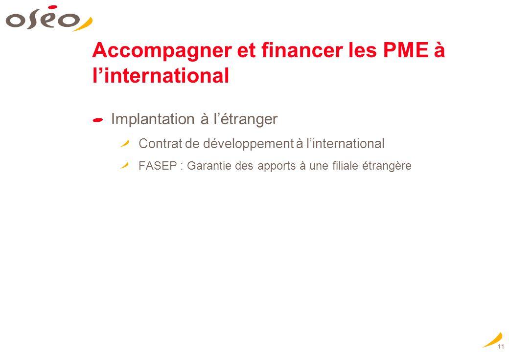 11 Accompagner et financer les PME à linternational Implantation à létranger Contrat de développement à linternational FASEP : Garantie des apports à