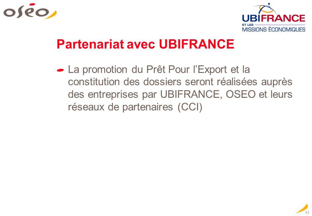 13 Partenariat avec UBIFRANCE La promotion du Prêt Pour lExport et la constitution des dossiers seront réalisées auprès des entreprises par UBIFRANCE,