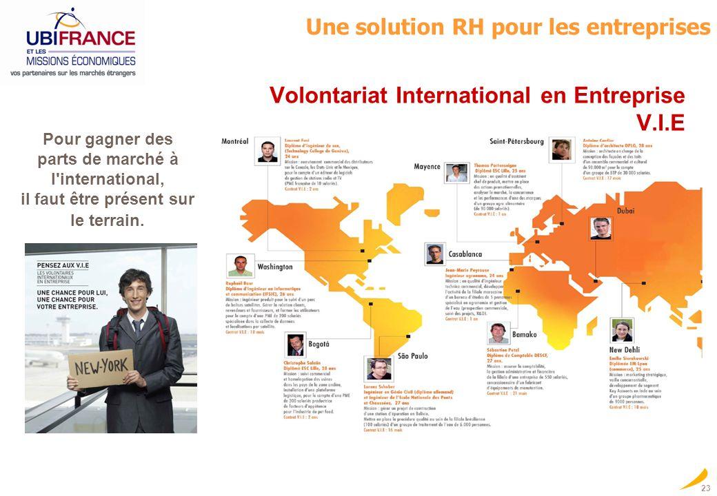 23 Volontariat International en Entreprise V.I.E UBIFRANCE, lAgence française pour le développement international des entreprises Pour gagner des part