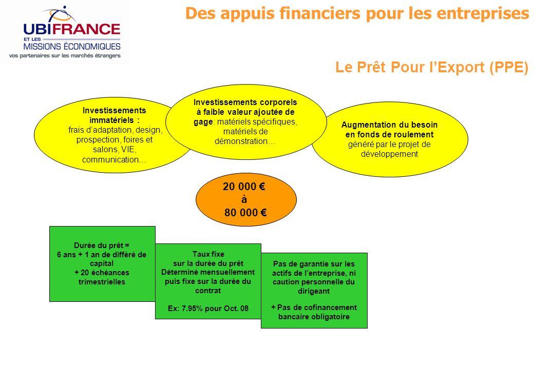 soutient linnovation et la croissance des PME Le Prêt Pour lExport (PPE) Des appuis financiers pour les entreprises Augmentation du besoin en fonds de