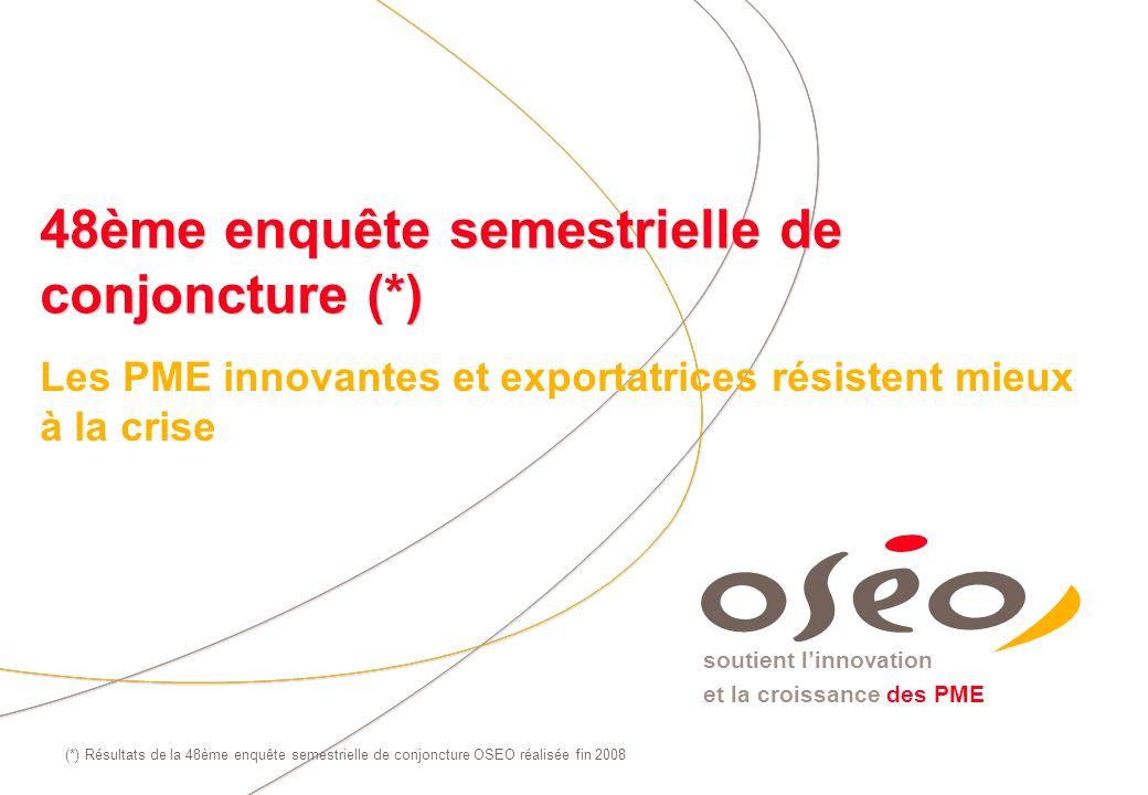 soutient linnovation et la croissance des PME 48ème enquête semestrielle de conjoncture (*) Les PME innovantes et exportatrices résistent mieux à la c