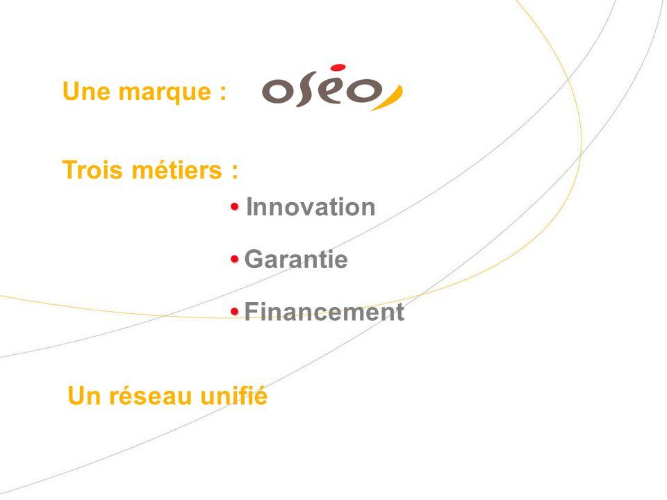 Trois métiers : Une marque : Innovation Garantie Financement Un réseau unifié