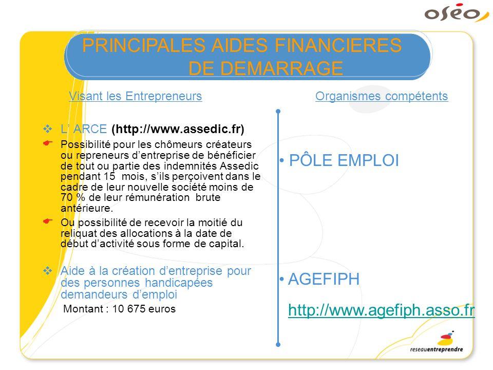 L ARCE (http://www.assedic.fr) Possibilité pour les chômeurs créateurs ou repreneurs dentreprise de bénéficier de tout ou partie des indemnités Assedi