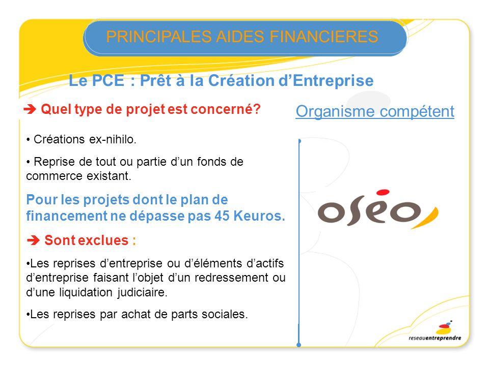 Le PCE : Prêt à la Création dEntreprise Quel type de projet est concerné? Créations ex-nihilo. Reprise de tout ou partie dun fonds de commerce existan