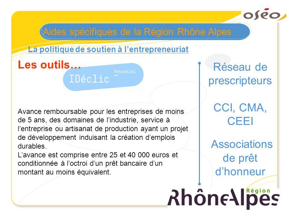 La politique de soutien à lentrepreneuriat Les outils… Avance remboursable pour les entreprises de moins de 5 ans, des domaines de lindustrie, service