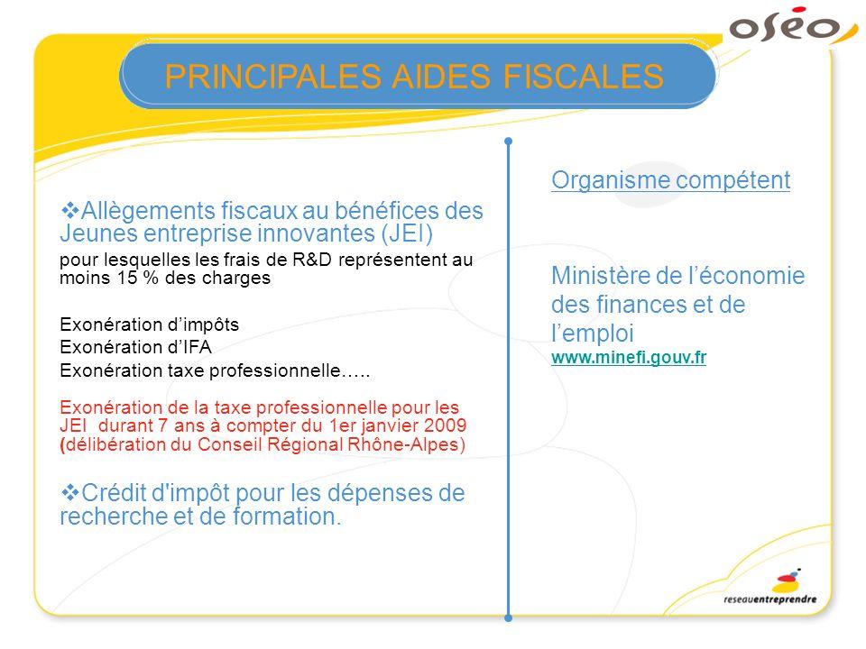 Allègements fiscaux au bénéfices des Jeunes entreprise innovantes (JEI) pour lesquelles les frais de R&D représentent au moins 15 % des charges Exonér