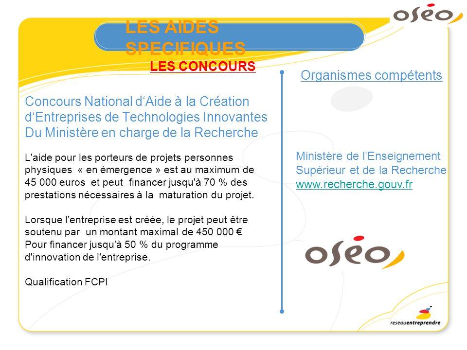 LES CONCOURS Organismes compétents Concours National dAide à la Création dEntreprises de Technologies Innovantes Du Ministère en charge de la Recherch
