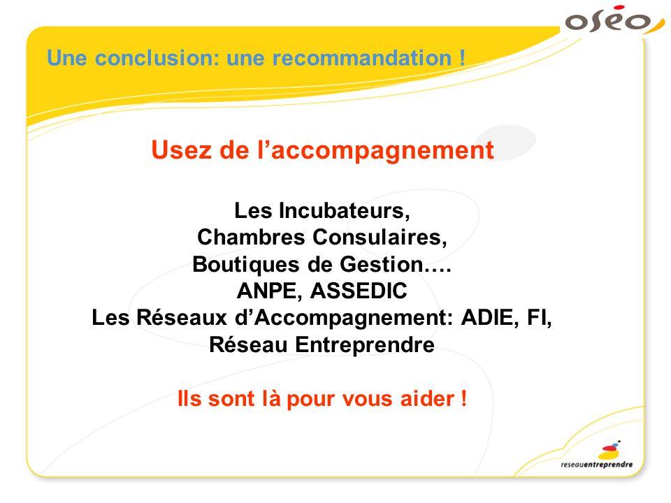Une conclusion: une recommandation ! Usez de laccompagnement Les Incubateurs, Chambres Consulaires, Boutiques de Gestion…. ANPE, ASSEDIC Les Réseaux d