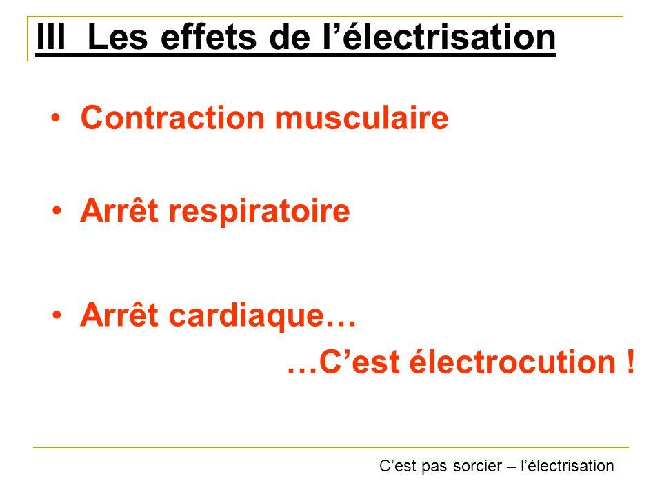 III Les effets de lélectrisation Contraction musculaire Arrêt respiratoire Arrêt cardiaque… …Cest électrocution ! Cest pas sorcier – lélectrisation