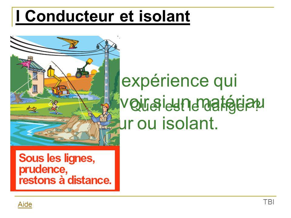 Matériau conducteur Matériau isolant I Conducteur et isolant 1) Expérience (Activité p 108) On insère un matériau dans le circuit.
