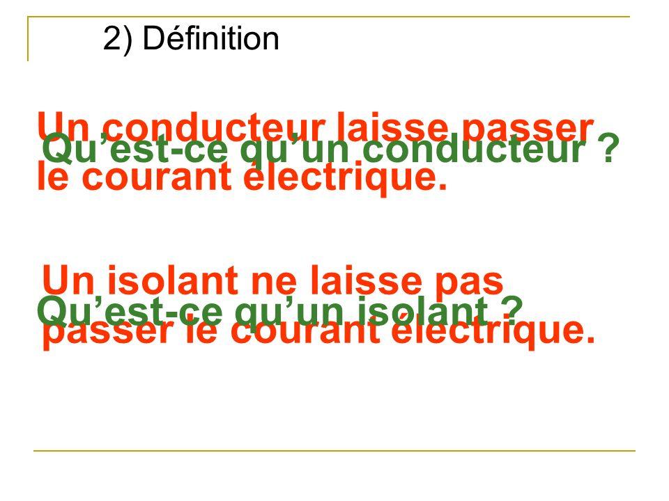 2) Définition Un conducteur laisse passer le courant électrique. Un isolant ne laisse pas passer le courant électrique. Quest-ce quun conducteur ? Que