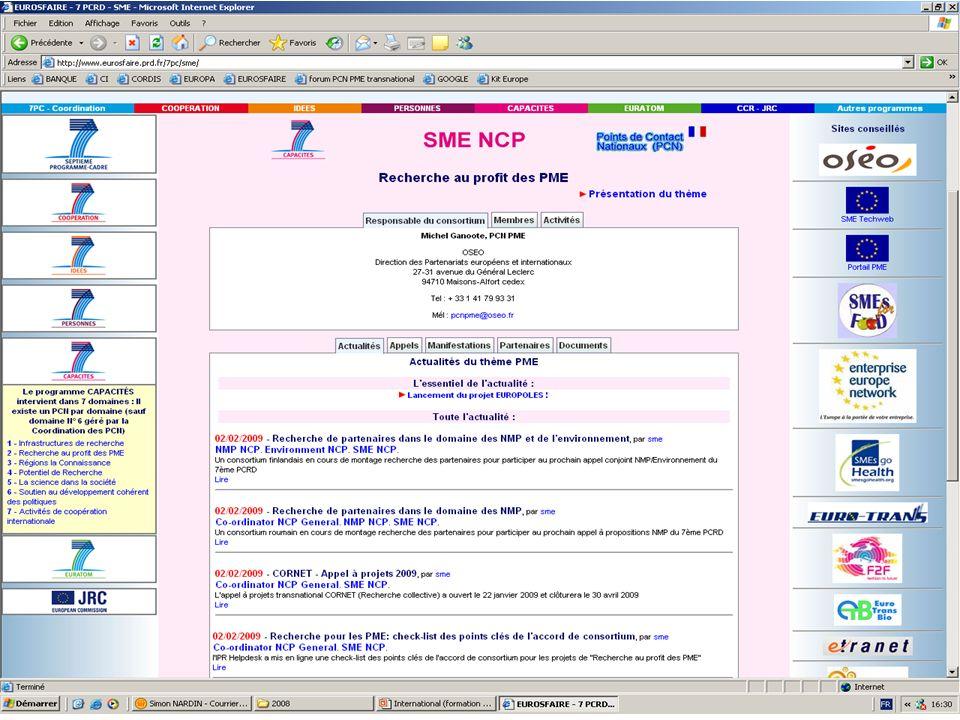 05 février 2009Salon des Entrepreneurs 2009 9 EUROSFAIRE, service français daccès à linformation sur la Recherche en Europe www.eurosfaire.prd.fr/7pc