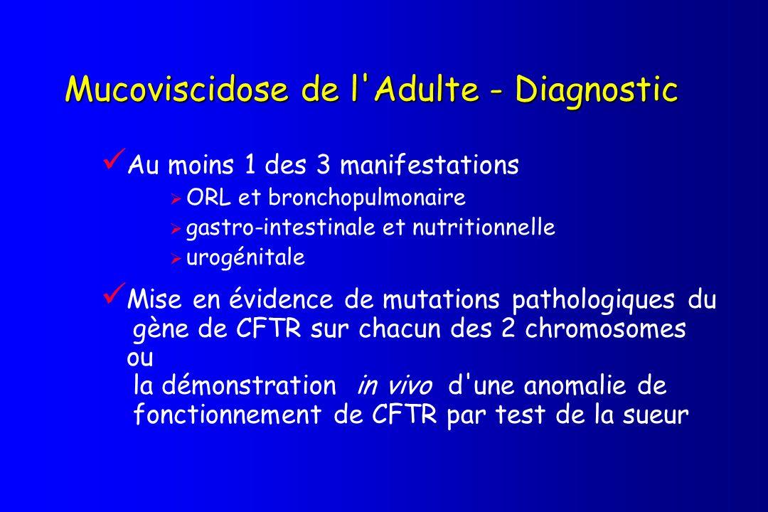 Manifestations cliniques d intérêt diagnostique pour la mucoviscidose chez l adulte 1 Atteintes ORL et broncho-pulmonaire caractérisées par : a) colonisation/infections répétées des voies respiratoires par des germes particuliers (S.