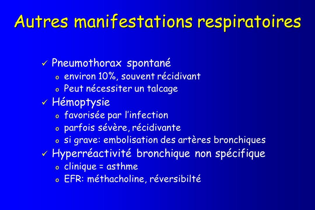 Autres manifestations respiratoires Pneumothorax spontané o environ 10%, souvent récidivant o Peut nécessiter un talcage Hémoptysie o favorisée par li
