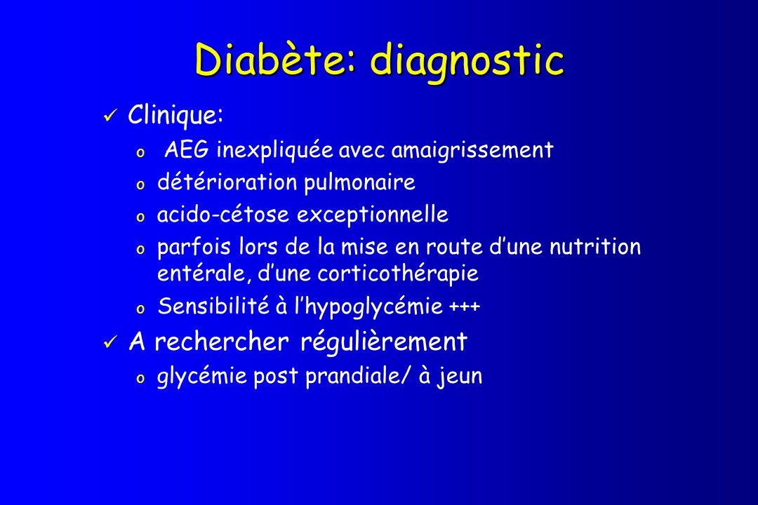 Diabète: diagnostic Clinique: o AEG inexpliquée avec amaigrissement o détérioration pulmonaire o acido-cétose exceptionnelle o parfois lors de la mise