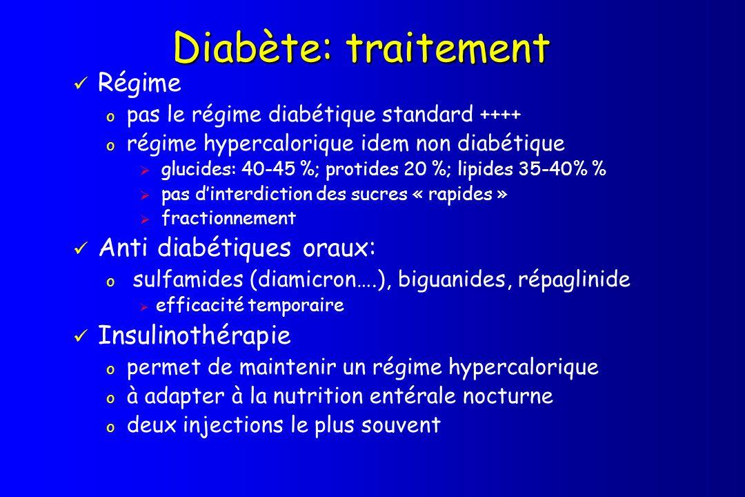 Diabète: traitement Régime o pas le régime diabétique standard ++++ o régime hypercalorique idem non diabétique glucides: 40-45 %; protides 20 %; lipi