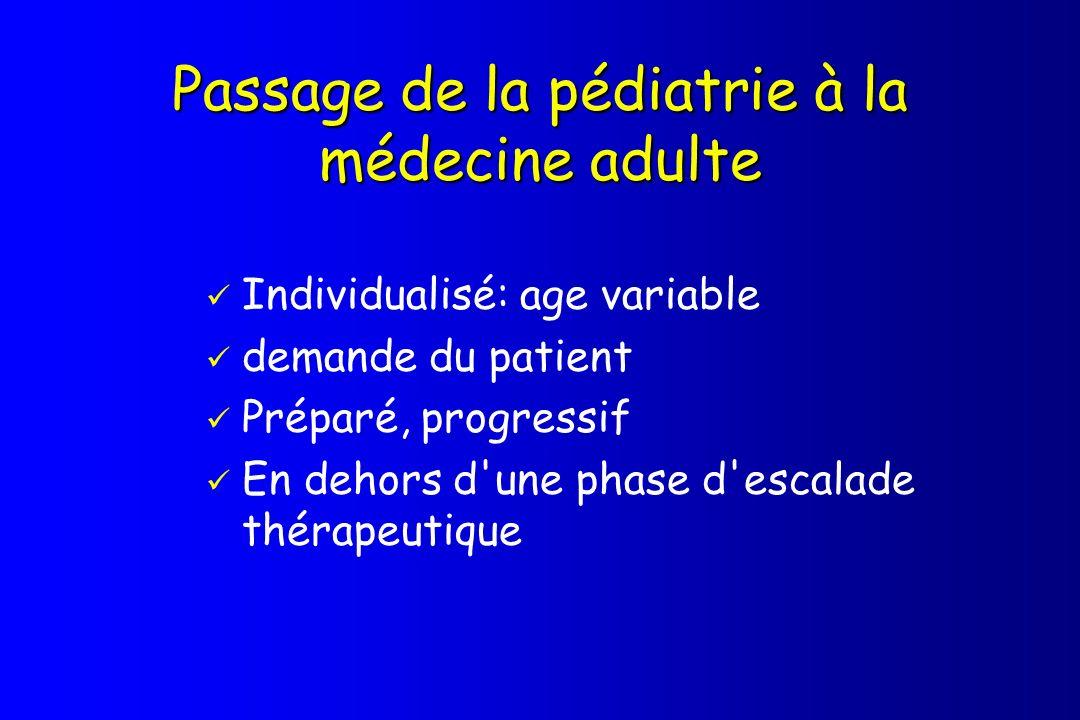 Passage de la pédiatrie à la médecine adulte Individualisé: age variable demande du patient Préparé, progressif En dehors d'une phase d'escalade théra
