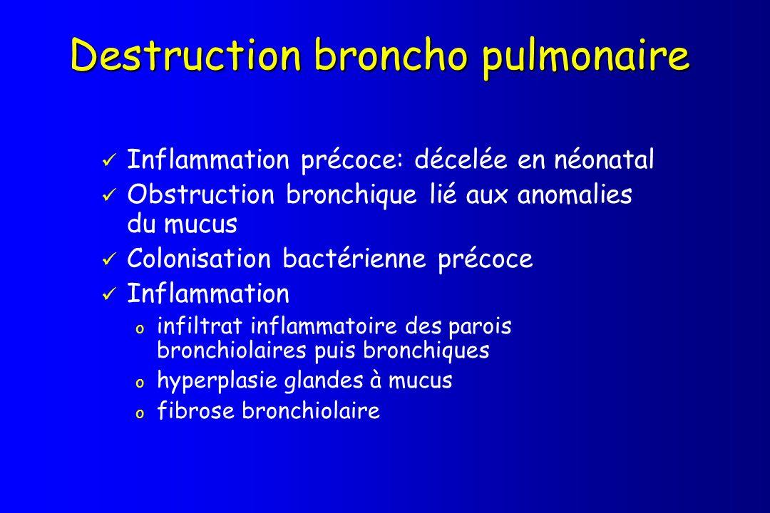 Destruction broncho pulmonaire Inflammation précoce: décelée en néonatal Obstruction bronchique lié aux anomalies du mucus Colonisation bactérienne pr
