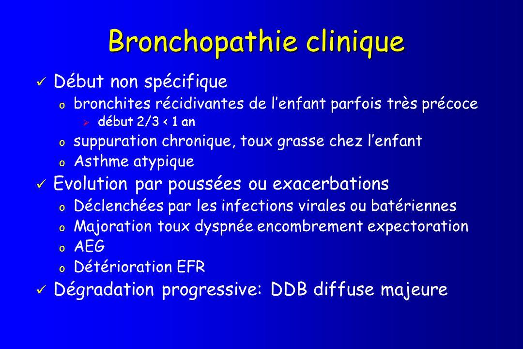 Bronchopathie clinique Début non spécifique o bronchites récidivantes de lenfant parfois très précoce début 2/3 < 1 an o suppuration chronique, toux g