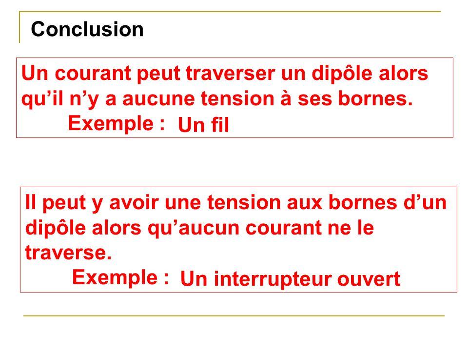 Conclusion Un courant peut traverser un dipôle alors quil ny a aucune tension à ses bornes. Exemple : Il peut y avoir une tension aux bornes dun dipôl