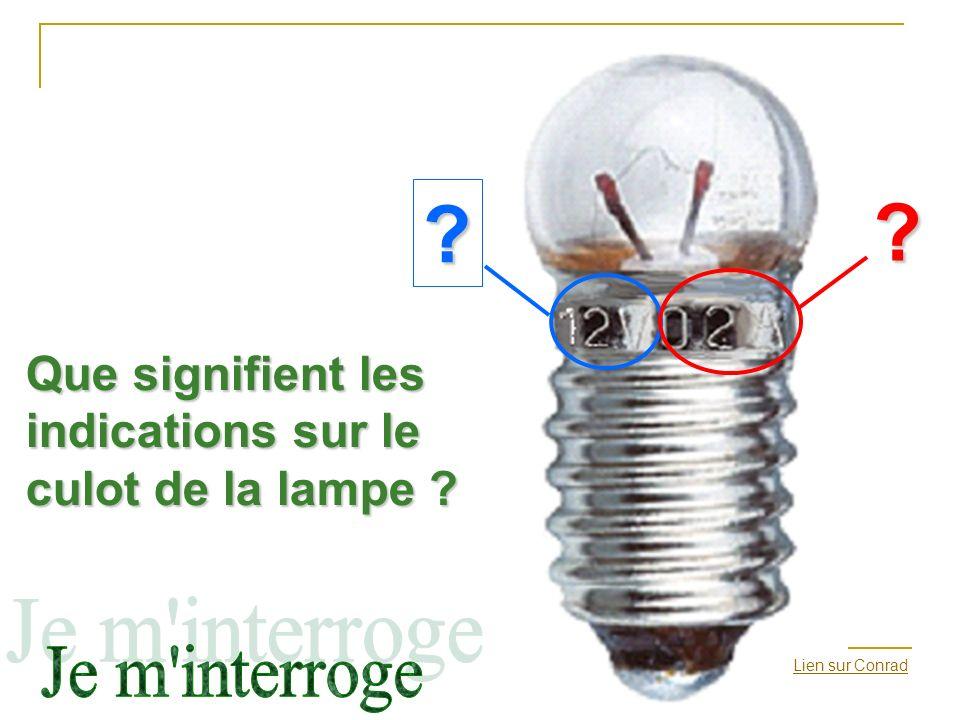 Lien sur Conrad? ? Que signifient les indications sur le culot de la lampe ?