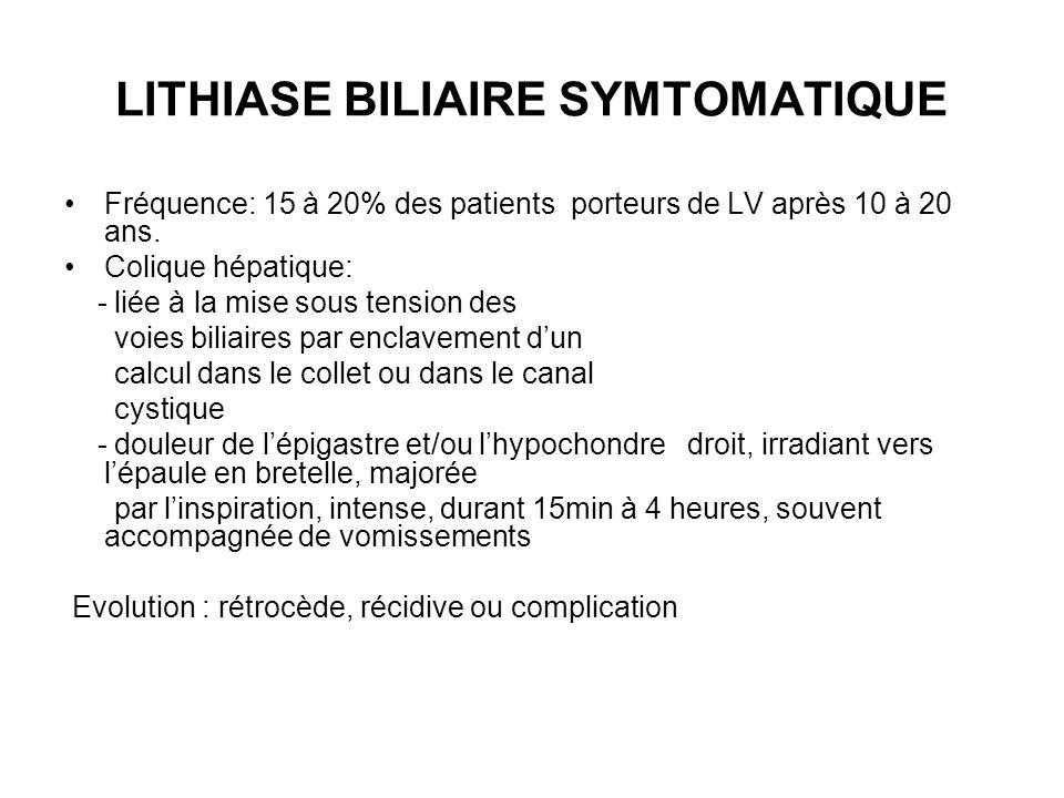 LITHIASE BILIAIRE SYMTOMATIQUE Fréquence: 15 à 20% des patients porteurs de LV après 10 à 20 ans. Colique hépatique: - liée à la mise sous tension des