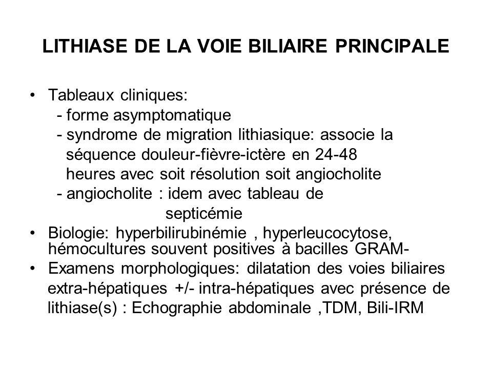 LITHIASE DE LA VOIE BILIAIRE PRINCIPALE Tableaux cliniques: - forme asymptomatique - syndrome de migration lithiasique: associe la séquence douleur-fi