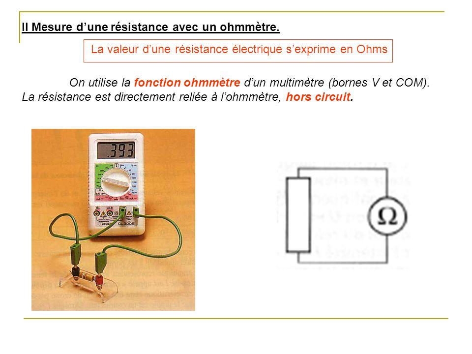 II Mesure dune résistance avec un ohmmètre. La valeur dune résistance électrique sexprime en Ohms On utilise la fonction ohmmètre dun multimètre (born