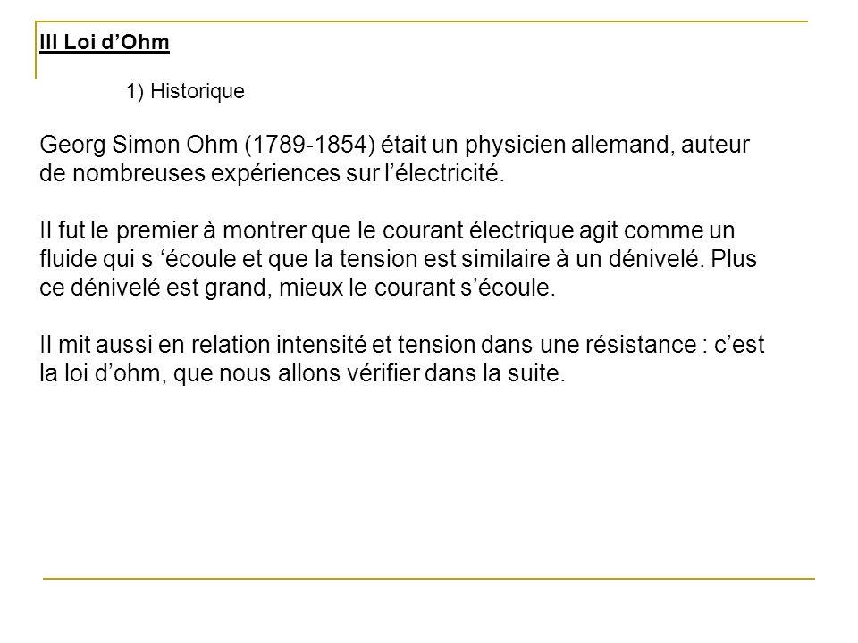 III Loi dOhm 1) Historique Georg Simon Ohm (1789-1854) était un physicien allemand, auteur de nombreuses expériences sur lélectricité. Il fut le premi