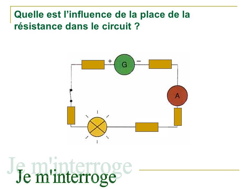 Quelle est linfluence de la place de la résistance dans le circuit ?