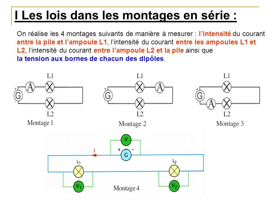 I Les lois dans les montages en série : On réalise les 4 montages suivants de manière à mesurer : lintensité du courant entre la pile et lampoule L1,
