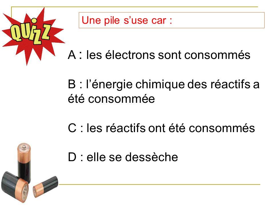 Une pile suse car : A : les électrons sont consommés B : lénergie chimique des réactifs a été consommée C : les réactifs ont été consommés D : elle se