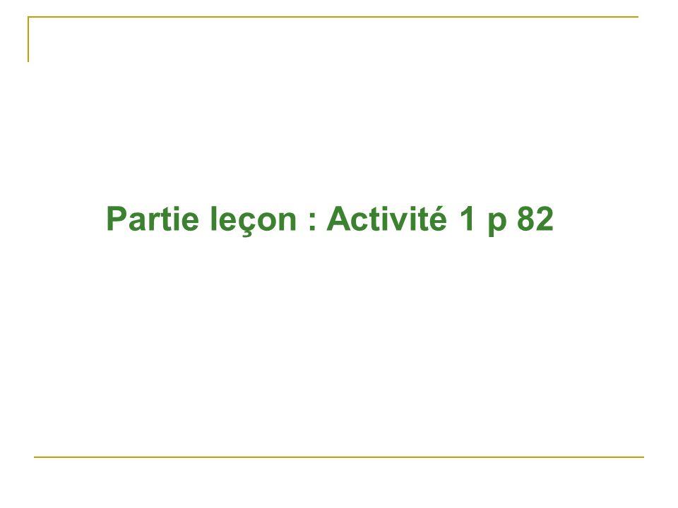 Partie leçon : Activité 1 p 82