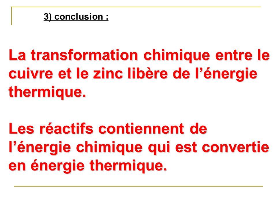 3) conclusion : La transformation chimique entre le cuivre et le zinc libère de lénergie thermique. Les réactifs contiennent de lénergie chimique qui