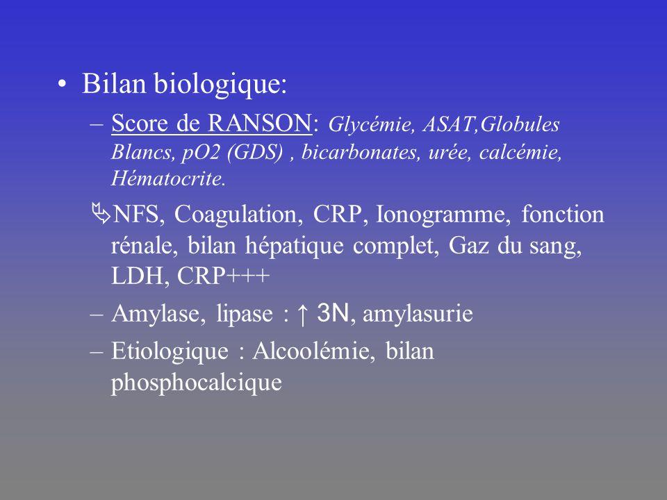 Bilan biologique: –Score de RANSON: Glycémie, ASAT,Globules Blancs, pO2 (GDS), bicarbonates, urée, calcémie, Hématocrite. NFS, Coagulation, CRP, Ionog