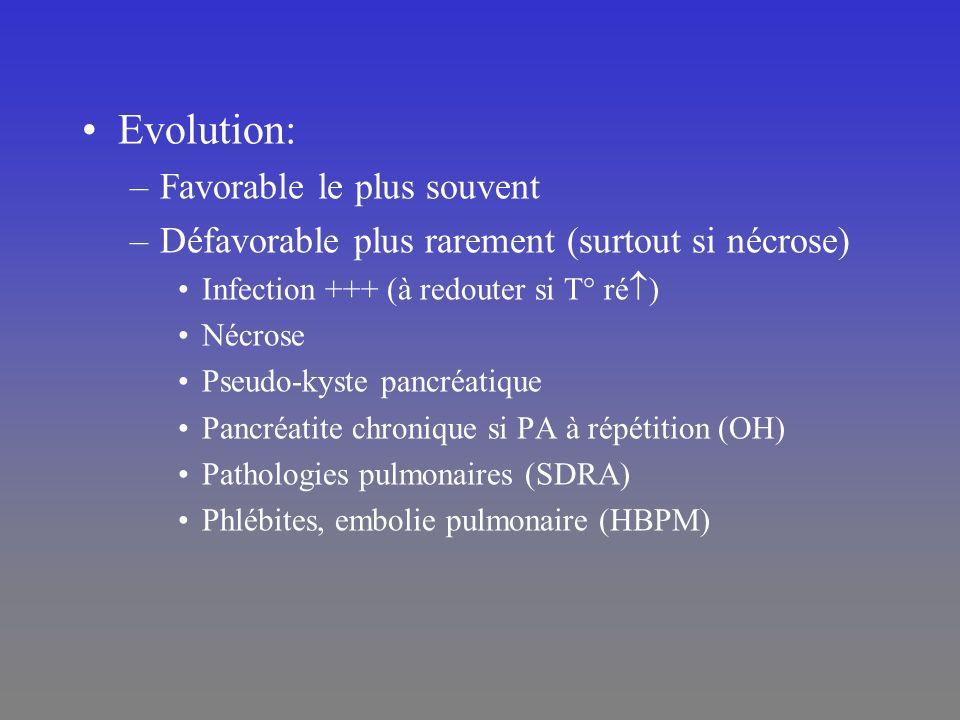 Evolution: –Favorable le plus souvent –Défavorable plus rarement (surtout si nécrose) Infection +++ (à redouter si T° ré ) Nécrose Pseudo-kyste pancré