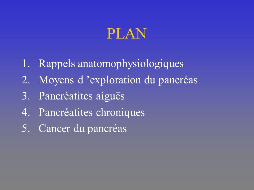 PLAN 1.Rappels anatomophysiologiques 2.Moyens d exploration du pancréas 3.Pancréatites aiguës 4.Pancréatites chroniques 5.Cancer du pancréas