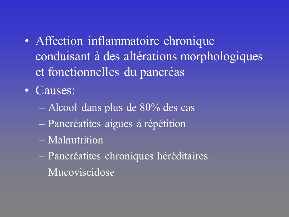 Affection inflammatoire chronique conduisant à des altérations morphologiques et fonctionnelles du pancréas Causes: –Alcool dans plus de 80% des cas –