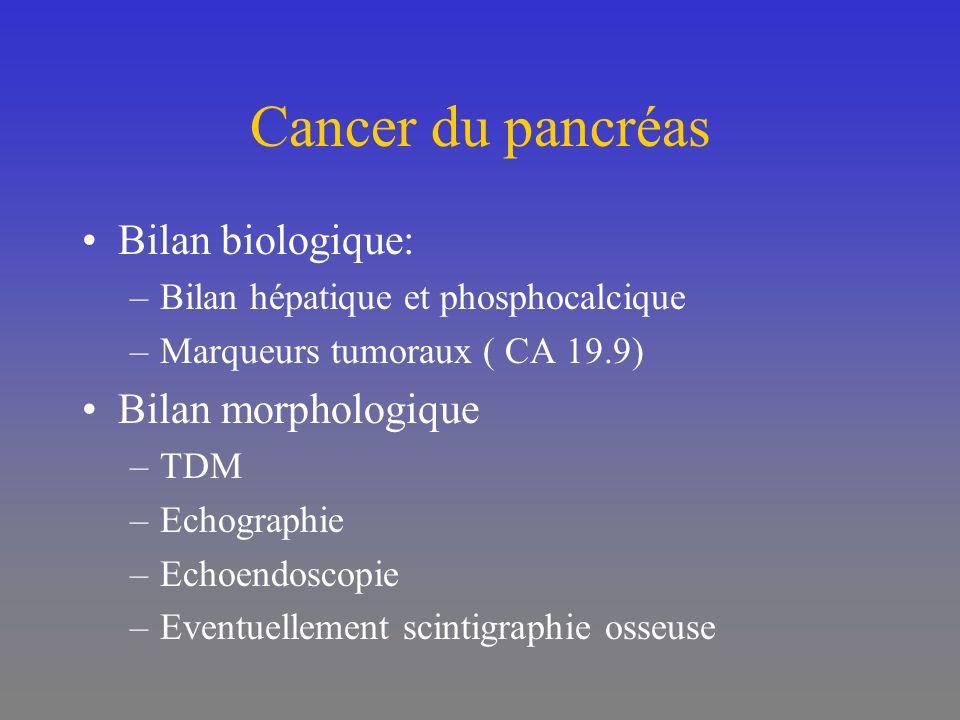 Cancer du pancréas Bilan biologique: –Bilan hépatique et phosphocalcique –Marqueurs tumoraux ( CA 19.9) Bilan morphologique –TDM –Echographie –Echoend