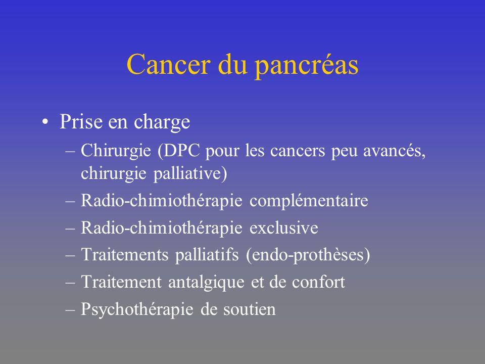 Cancer du pancréas Prise en charge –Chirurgie (DPC pour les cancers peu avancés, chirurgie palliative) –Radio-chimiothérapie complémentaire –Radio-chi