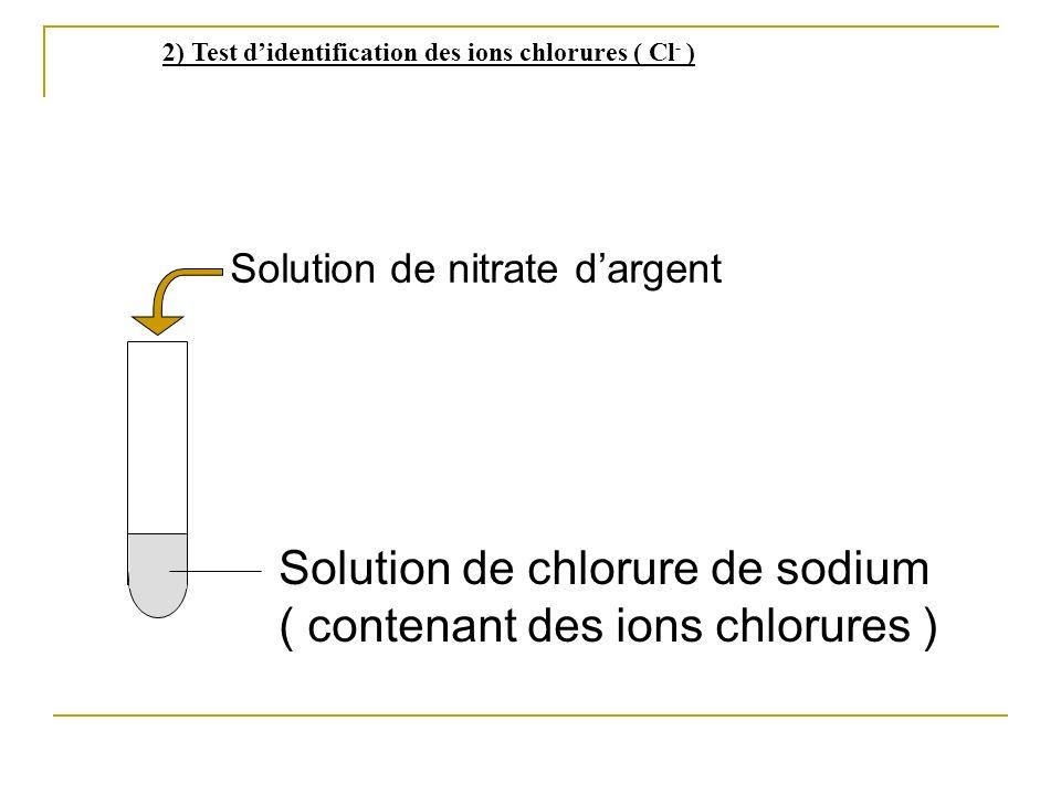 Solution de chlorure de sodium ( contenant des ions chlorures ) Solution de nitrate dargent 2) Test didentification des ions chlorures ( Cl - )