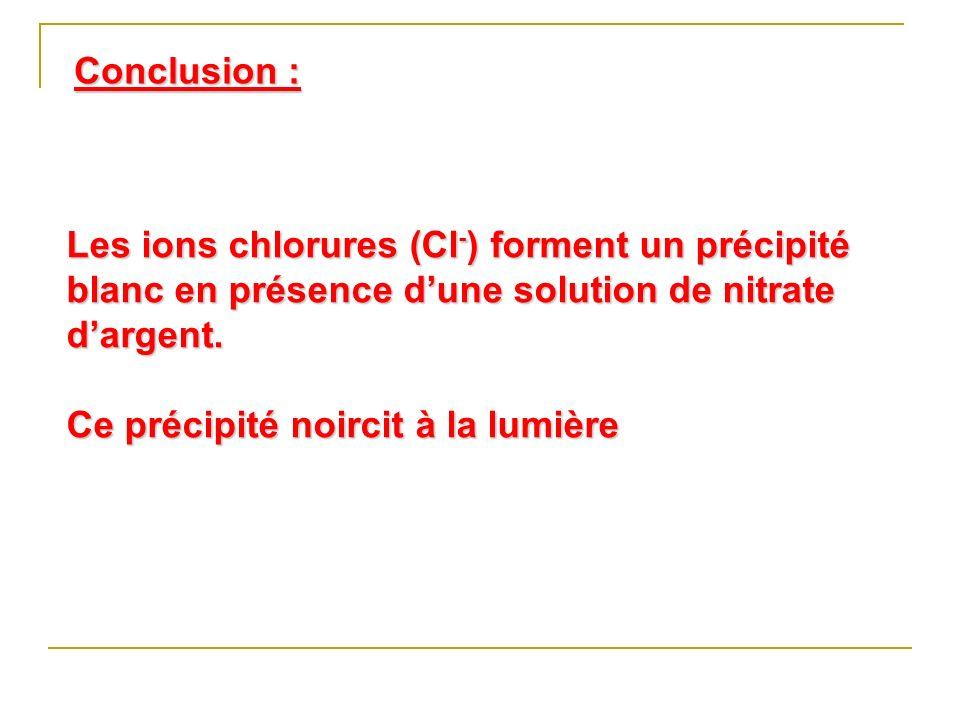 Les ions chlorures (Cl - ) forment un précipité blanc en présence dune solution de nitrate dargent. Ce précipité noircit à la lumière Conclusion :