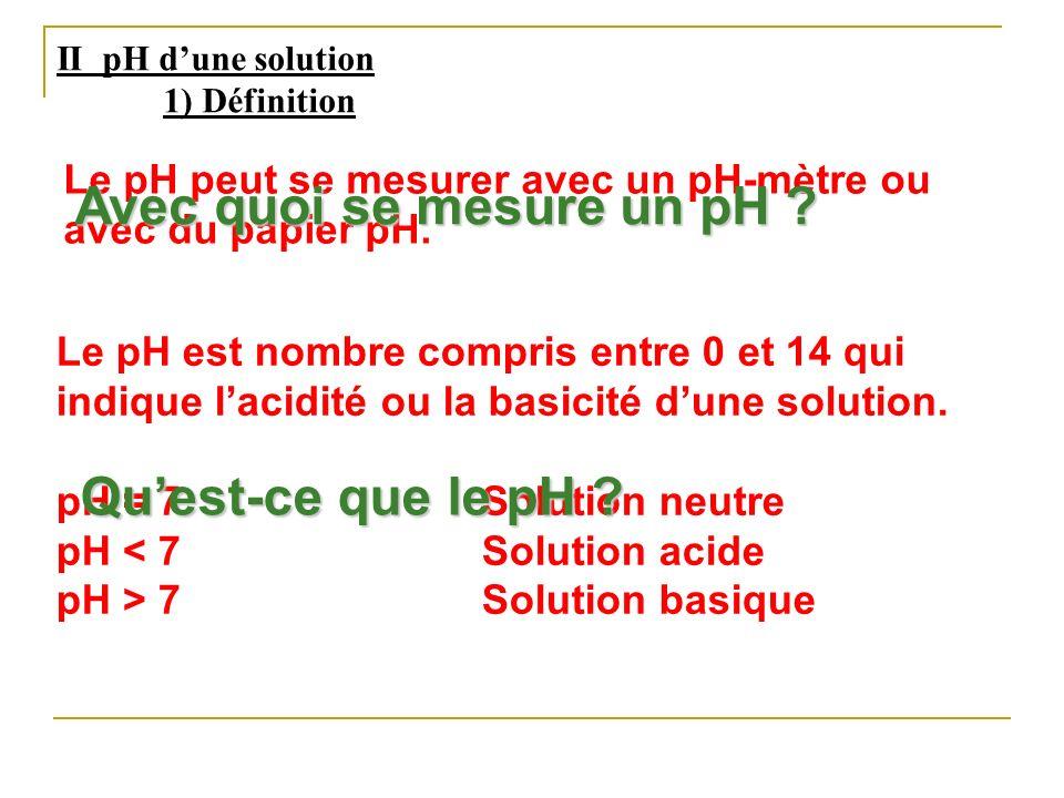 II pH dune solution 1) Définition Le pH est nombre compris entre 0 et 14 qui indique lacidité ou la basicité dune solution. pH = 7 Solution neutre pH